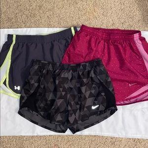 3 NIKE/UnderArmor shorts XS